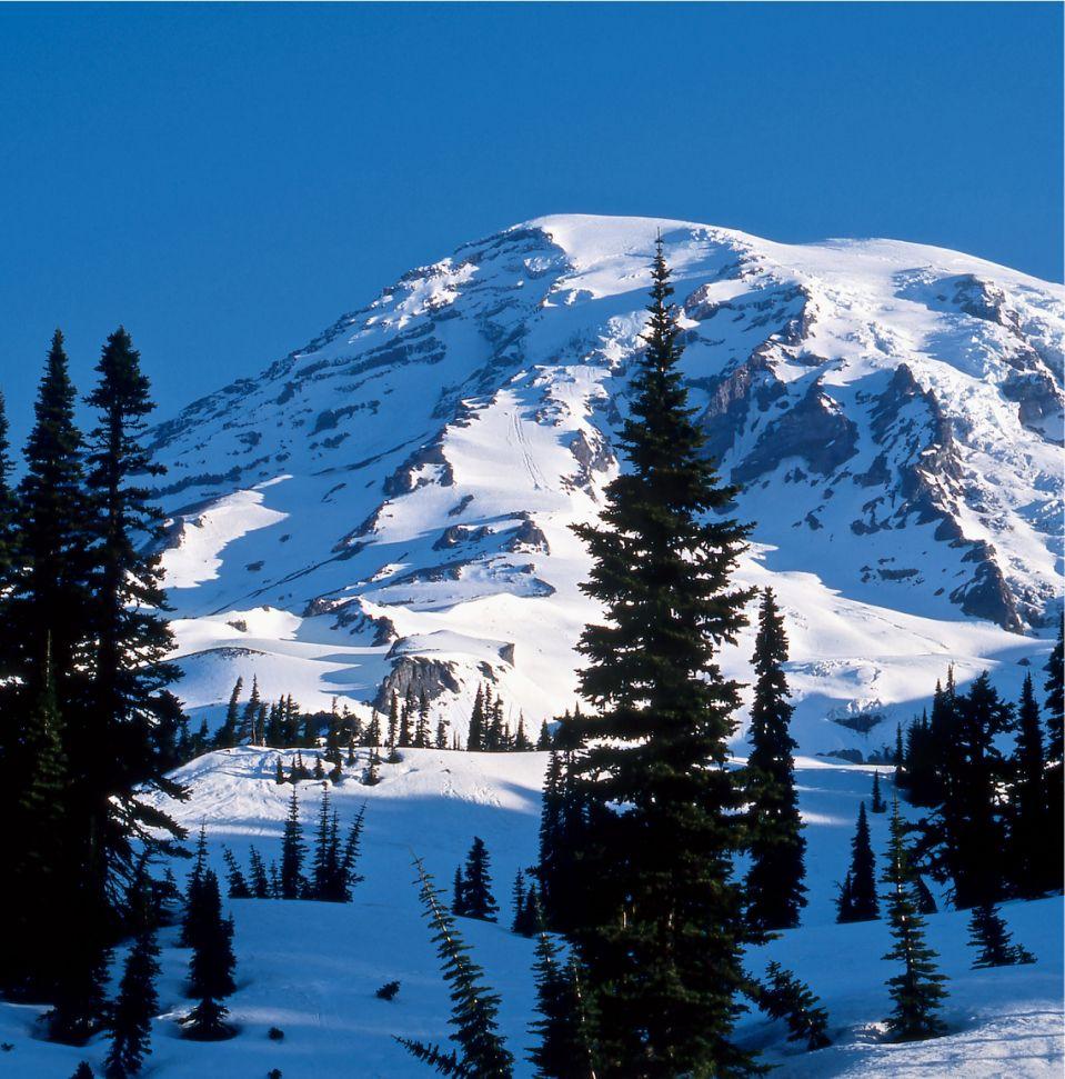 Le mont Rainier est souvent vu de Seattle, à 60 miles au sud.