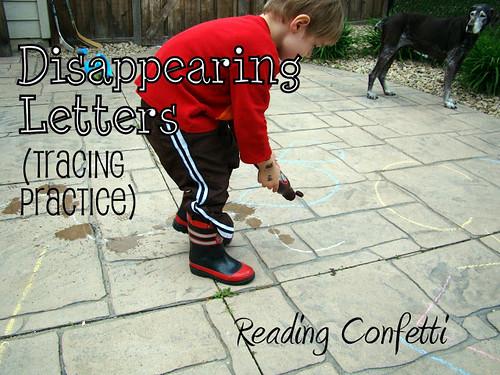 Disparition des lettres - Pratique du traçage (photo tirée de Reading Confetti)