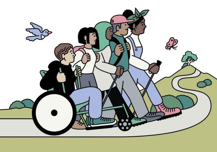 Illustration de personnes en randonnée