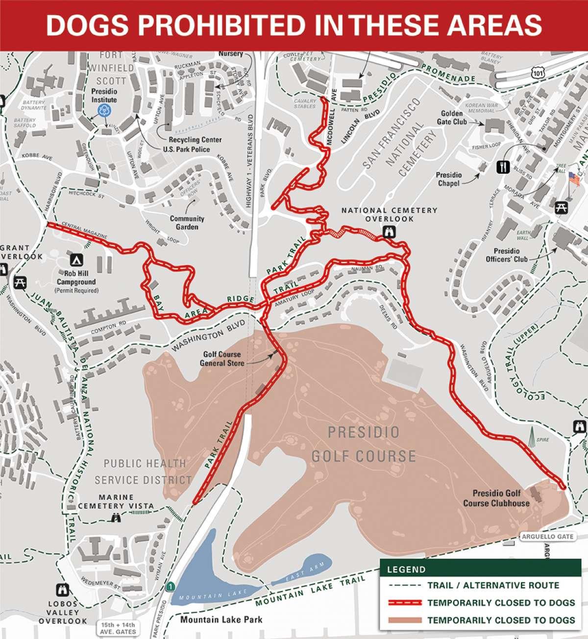 Carte montrant les sentiers temporairement fermés aux chiens dans le Presidio, San Francisco.