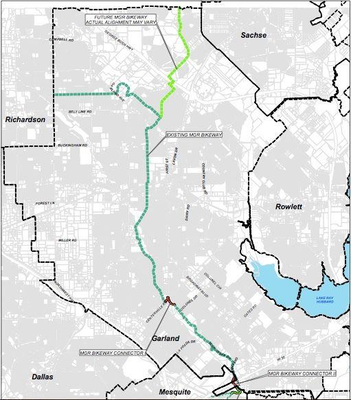 La construction du projet de connecteurs pour voies cyclables Mesquite-Garland-Richardson est actuellement en cours à Garland et devrait commencer à Mesquite à la fin de l'été 2021.